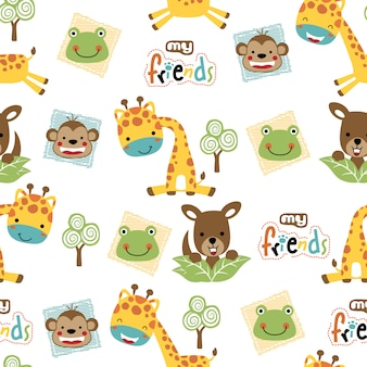 Seamless pattern with cute animals cartoon