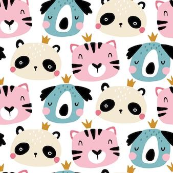 かわいい動物の顔とのシームレスなパターン。スカンジナビアスタイルの保育園の幼稚なプリント。ベビー服、インテリア、包装用。パステルカラーの漫画イラスト