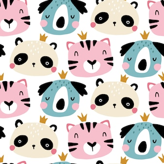 Seamless pattern with cute animals faces. childish print for nursery in a scandinavian style. for baby clothes, interior, packaging. cartoon illustration in pastel colors