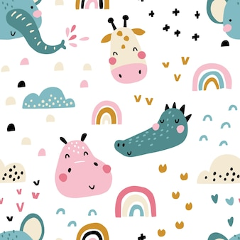 Seamless pattern with cute animals faces.