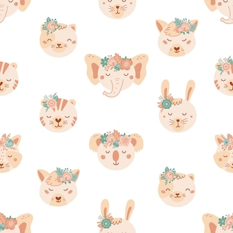Seamless pattern with cute animals and flowers. background with lion, dog, elephant, cat, tige in flat style. illustration for kids. design for wallpaper, fabric, textiles, wrapping paper. vector