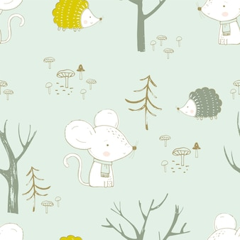 Seamless pattern with cute animals in the forest bunny mouse and hedgehog