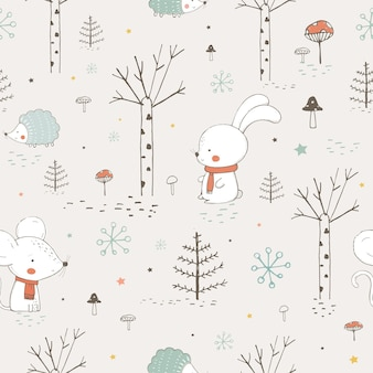 Seamless pattern with cute animals in the forest mouse and hedgehoghand drawn vector illustration