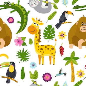 Seamless pattern with cute animals from the jungle