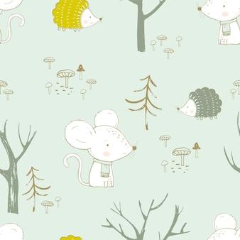 森の中のかわいい動物とのシームレスなパターンバニーマウスとハリネズミ