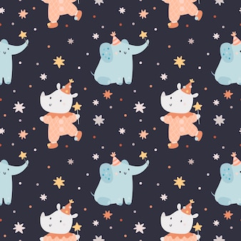 Seamless pattern with cute animals for kids