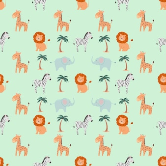 Seamless pattern with cute animals lion zebra elephant giraffe