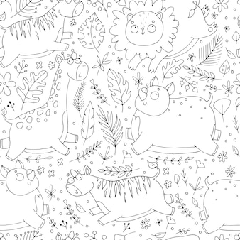 Seamless pattern with cute animals, with flowers, with jungle, palm leaves, zebra, rhino, giraffe, lion, childrens doodle