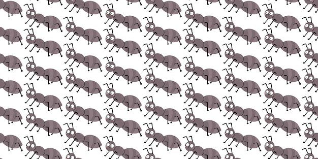 Seamless pattern with cute ant with funny eyes