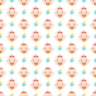 귀여운 아기 소녀와 젖꼭지 원활한 패턴