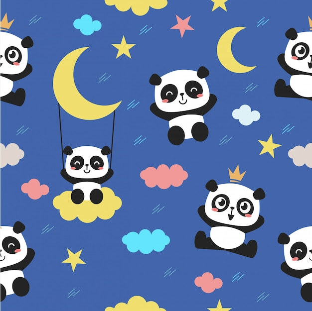 Seamless pattern with a cute baby panda character.