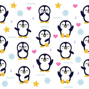 Seamless pattern with a cute baby penguin character.