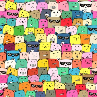 Seamless pattern with cute bear background.