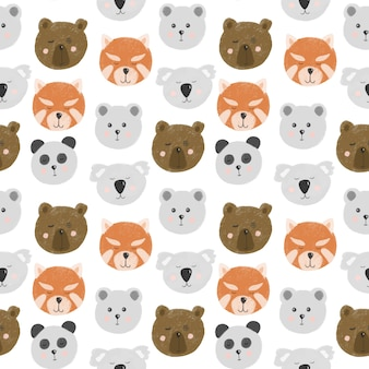 Seamless pattern with cute bear faces (bear, polar bear, panda, red panda, koala)