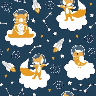 Seamless pattern with cute bear, fox, owl, stars