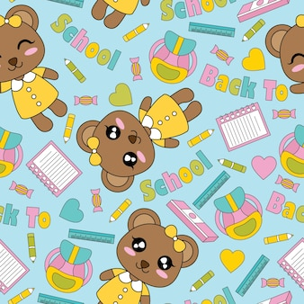 Seamless pattern with cute bear girls, books, and pencils on blue background vector cartoon suitable for kid wallpaper design, scrap paper and kid fabric clothes background
