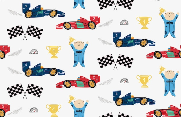 Seamless pattern with a cute bear racer and race cars