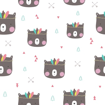 Seamless pattern with cute bear.