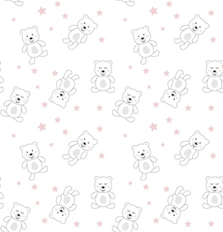 Seamless pattern with cute bear.