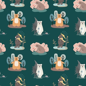 Бесшовный фон с милыми медведями и различными элементами. иллюстрация в скандинавском стиле.