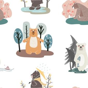 かわいいクマとさまざまな要素のシームレスなパターン。北欧風のイラスト。