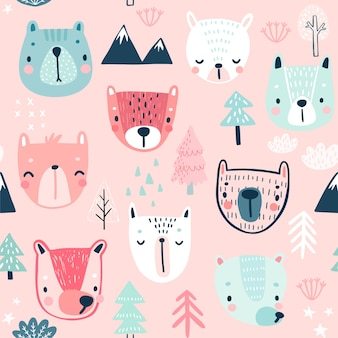Seamless pattern with cute bears childish background with sweet characters and other elements