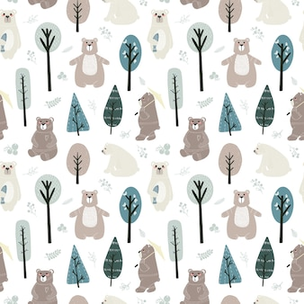 Seamless pattern with cute bears and different elements.  illustration in scandinavian style.