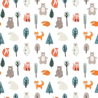 Бесшовный фон с милыми медведями, лисами и различными элементами. иллюстрация в скандинавском стиле.