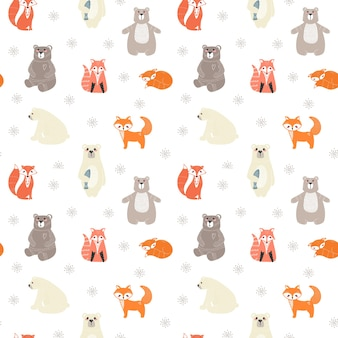 Seamless pattern with cute bears, foxs and different elements.  illustration in scandinavian style.
