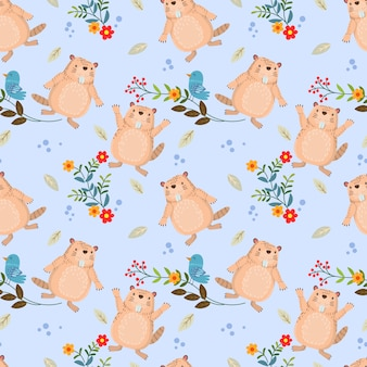 Seamless pattern with cute beaver and bird on branch