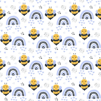 Seamless pattern with a cute bee rainbow moon clouds and stars