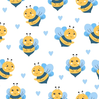 Seamless pattern with a cute bee