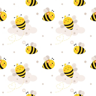 Seamless pattern with cute bees. pattern in cartoon flat style.