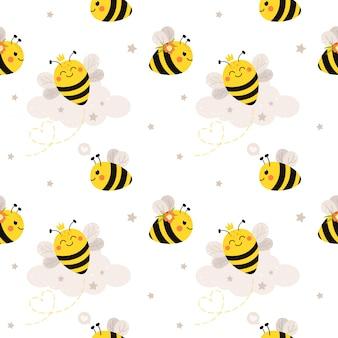 かわいい蜂とのシームレスなパターン。漫画のフラットスタイルのパターン。