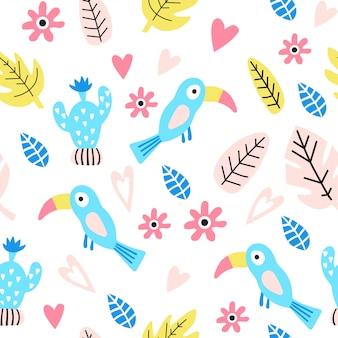 Seamless pattern with cute bird