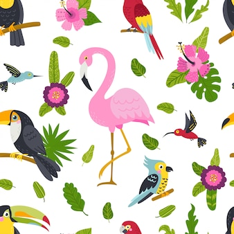 Бесшовный узор с милыми птицами и растениями