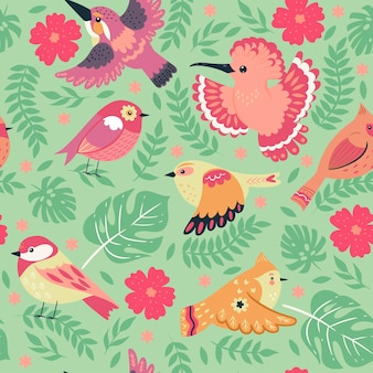 Seamless pattern with cute birds