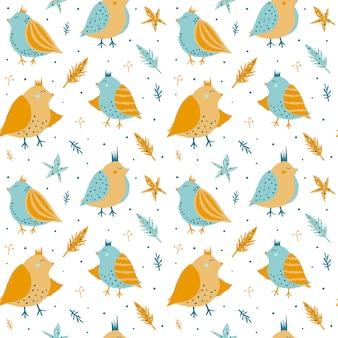 Seamless pattern with cute birds.