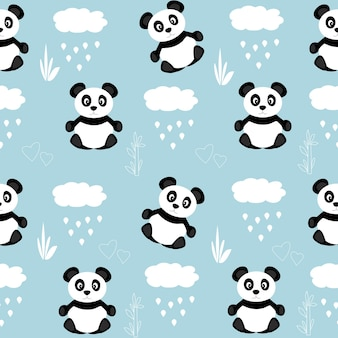 Seamless pattern with cute black pandas and  clouds with rain