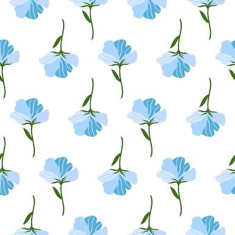 かわいい青い平らな花とのシームレスなパターン。白い背景の上の手描きのベクトルイラスト。印刷、ファブリック、テキスタイル、壁紙のテクスチャ。