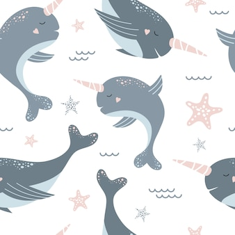 Seamless pattern with cute blue narwhals and starfish.