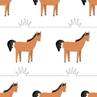Бесшовный фон с милыми коричневыми лошадьми. фон с сельскохозяйственными животными. обои, упаковка. плоские векторные иллюстрации