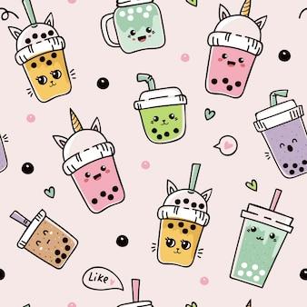 Seamless pattern with cute bubble tea or pearl tea