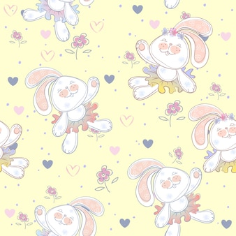 Seamless pattern with cute bunnies ballerinas.
