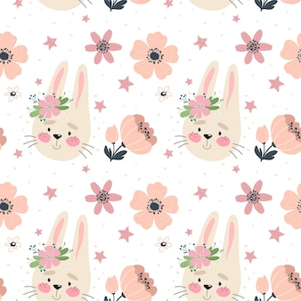 Seamless pattern with cute bunny and flowers.