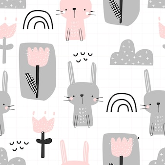 Seamless pattern with a cute bunny rainbow and flowers on a white background vector illustration