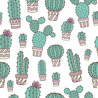 Seamless pattern with cute cacti