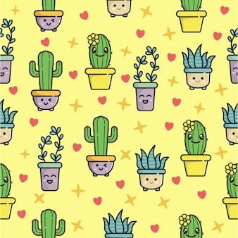 Seamless pattern with cute cactus character