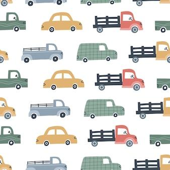 キッズデザインのかわいい車とのシームレスなパターン。手描きのベクトル図です。