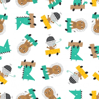 Seamless pattern with cute cars, lion, elephant and alligator.